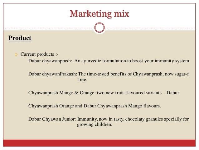marketing mix of dabur chyawanprash The marketing mix of dabur discusses the 4 p'sis one of one of the leading  companies in  in 1949, it gave the world dabur chyawanprash.