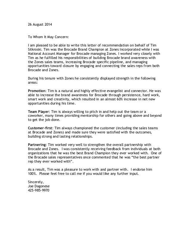 tim silkroski recommendation letter