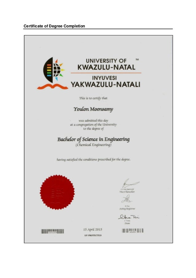 Certificate of Degree Completion