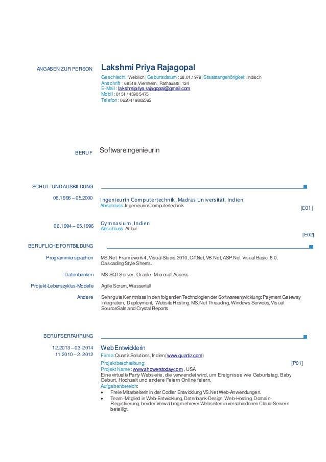 ANGABEN ZUR PERSON Lakshmi Priya Rajagopal Geschlecht :Weiblich   Geburtsdatum :28.01.1979  Staatsangehörigkeit :Indisch A...