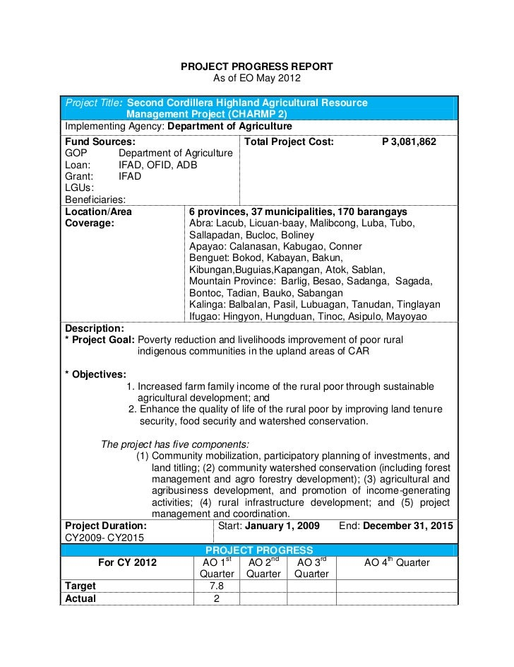 PROJECT PROGRESS REPORT                                 As of EO May 2012Project Title: Second Cordillera Highland Agricul...