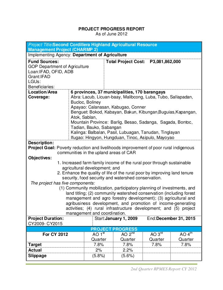 PROJECT PROGRESS REPORT                                As of June 2012Project Title:Second Cordillera Highland Agricultura...