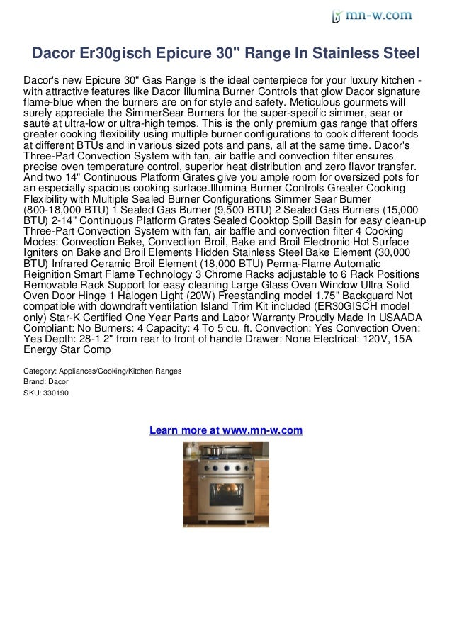 """Dacor Er30gisch Epicure 30"""" Range In Stainless SteelDacors new Epicure 30"""" Gas Range is the ideal centerpiece for your lux..."""