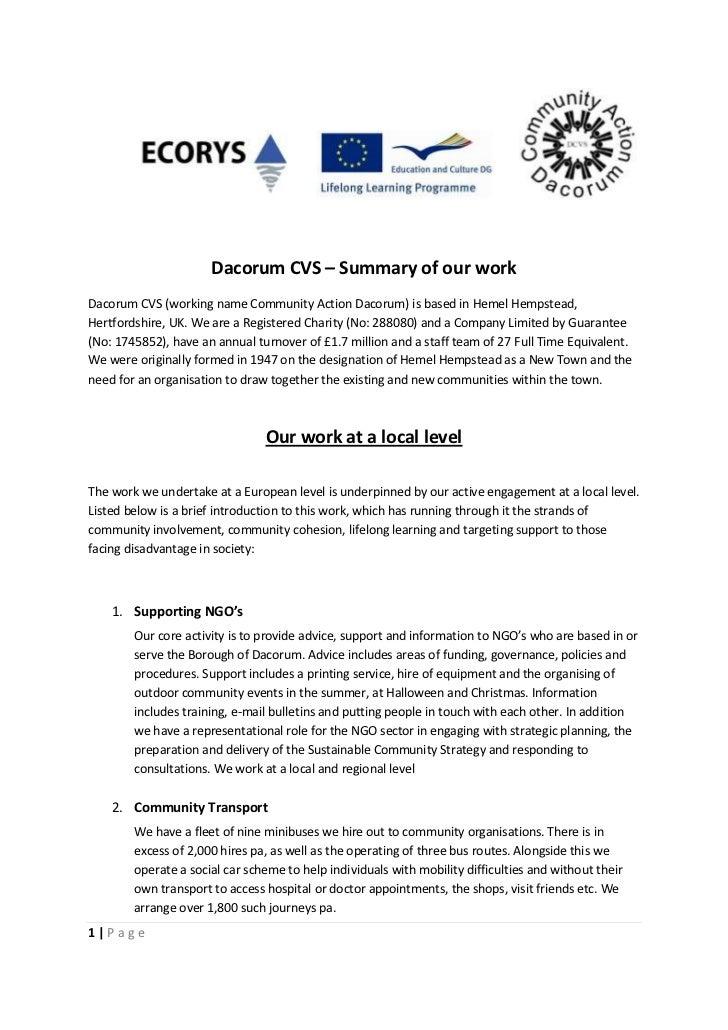Dacorum CVS – Summary of our workDacorum CVS (working name Community Action Dacorum) is based in Hemel Hempstead,Hertfords...