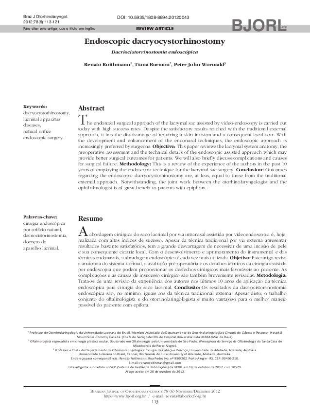 113  Brazilian Journal of Otorhinolaryngology 78 (6) Novembro/Dezembro 2012  http://www.bjorl.org.br / e-mail: revista@abo...
