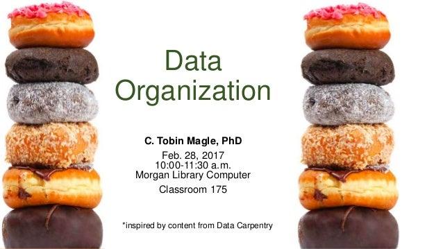 Data Organization C. Tobin Magle, PhD Feb. 28, 2017 10:00-11:30 a.m. Morgan Library Computer Classroom 175 *inspired by co...