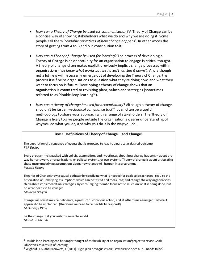 theoretical change strategies essay