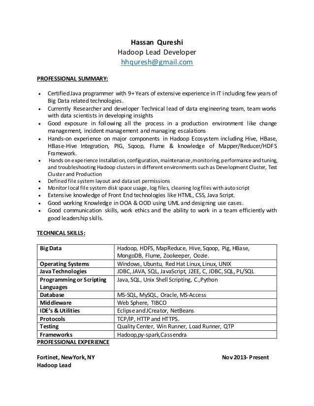 Hadoop Resume Idas Ponderresearch Co