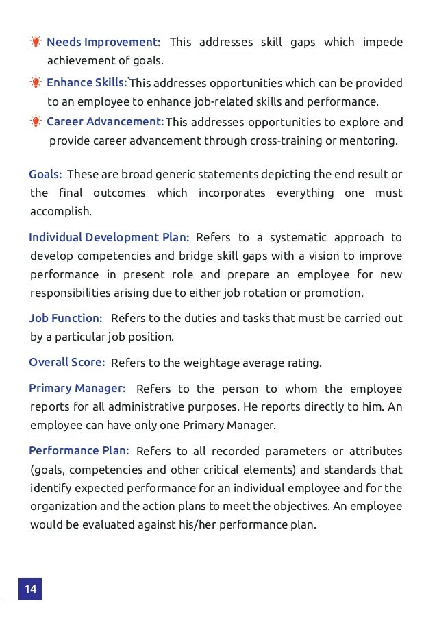 Performance Planning Management Handbook – Performance Plan
