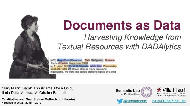 Documents as Data Harvesting Knowledge from Textual Resources with DADAlytics Mary Mann, Sarah Ann Adams, Rose Gold, Ilari...