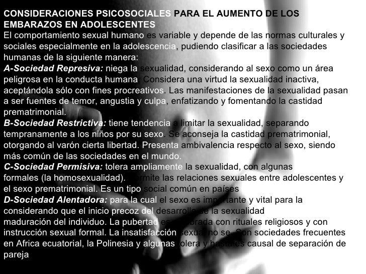 CONSIDERACIONES PSICOSOCIALES  PARA EL AUMENTO DE LOS  EMBARAZOS EN ADOLESCENTES   El comportamiento sexual humano  es var...