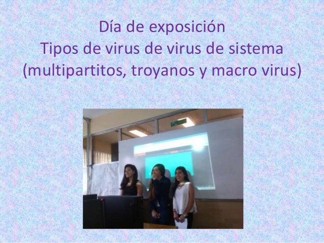 Día de exposición Tipos de virus de virus de sistema (multipartitos, troyanos y macro virus)
