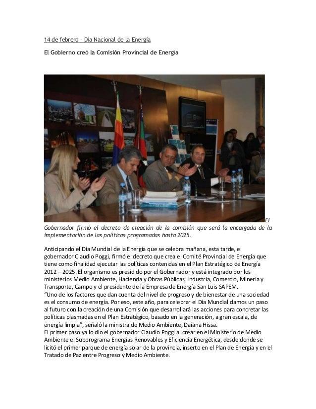14 de febrero – Día Nacional de la EnergíaEl Gobierno creó la Comisión Provincial de Energía                              ...