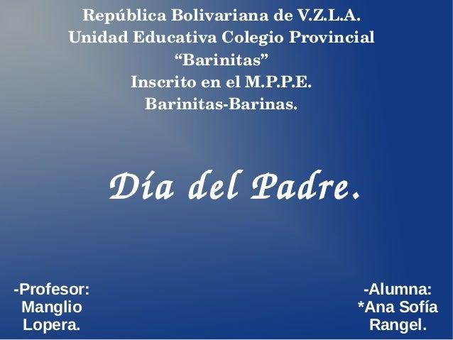"""RepúblicaBolivarianadeV.Z.L.A. UnidadEducativaColegioProvincial """"Barinitas"""" InscritoenelM.P.P.E. BarinitasBarin..."""