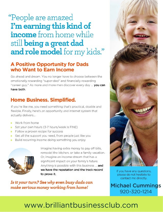 Stay At Home Dad Business Opportunity Flyer