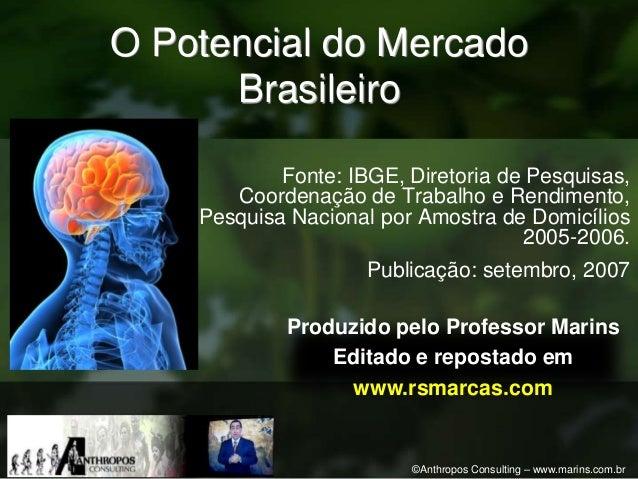 O Potencial do Mercado      Brasileiro            Fonte: IBGE, Diretoria de Pesquisas,       Coordenação de Trabalho e Ren...