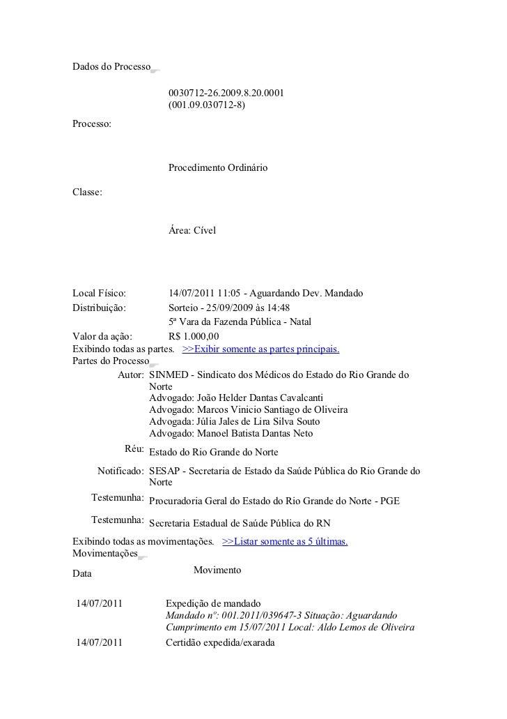 Dados do Processo                      0030712-26.2009.8.20.0001                      (001.09.030712-8)Processo:          ...