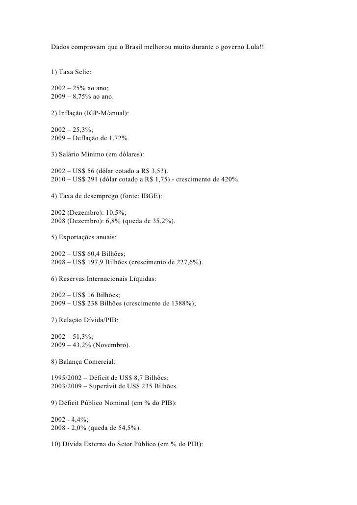 Dados comprovam que o Brasil melhorou muito durante o governo Lula!!   1) Taxa Selic:  2002 – 25% ao ano; 2009 – 8,75% ao ...
