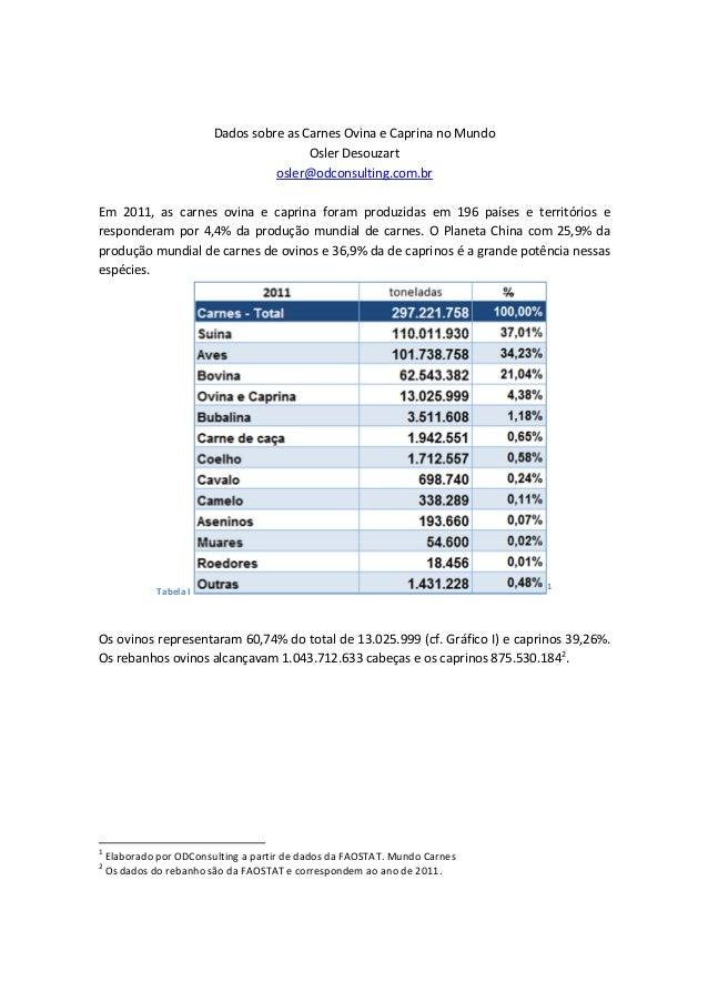 Dados sobre as Carnes Ovina e Caprina no Mundo Osler Desouzart osler@odconsulting.com.br Em 2011, as carnes ovina e caprin...
