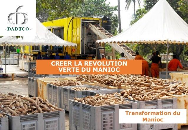 CREER LA REVOLUTION VERTE DU MANIOC Transformation du Manioc