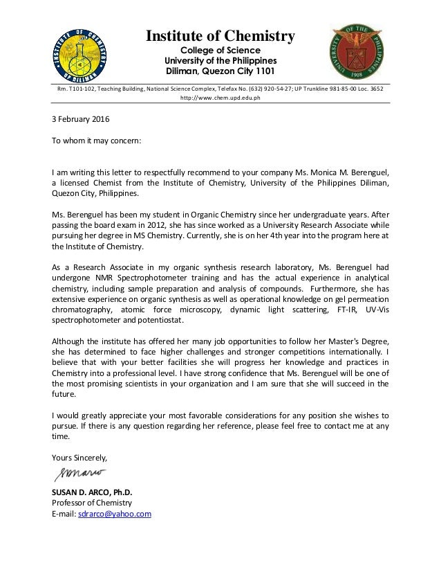 Endorsement letter institute of chemistry college of science university of the philippines diliman quezon city 1101 rm yadclub Image collections
