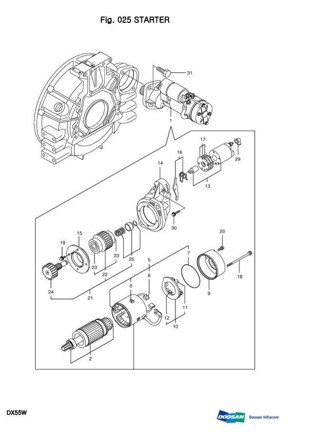 Daewoo doosan dx55 w wheeled excavator service repair manual