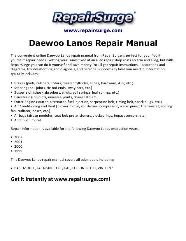daewoo lanos repair manual 1999 2002 rh slideshare net Silver 2001 Daewoo Lanos 2001 Daewoo Lanos Diagram
