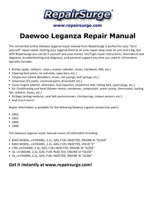 daewoo leganza repair manual 1999 2002 rh slideshare net daewoo 130 lc-v shop manual daewoo service manual lacetti