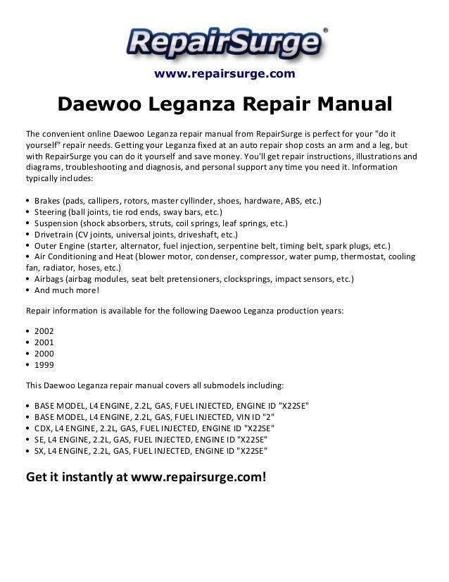 daewoo leganza repair manual 1999 2002 rh slideshare net 1995 Infiniti Q45 Repair Manual 1995 Infiniti Q45 Repair Manual