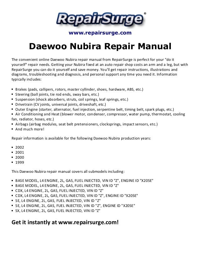 daewoo nubira repair manual 1999 2002 rh slideshare net 1999 Daewoo Nubira Interior 1999 daewoo lanos service manual