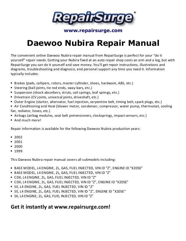 daewoo nubira repair manual 1999 2002 rh slideshare net daewoo nubira service manual daewoo nubira repair manual pdf