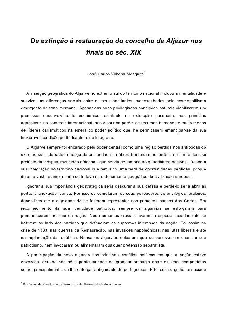 Da extinção à restauração do concelho de Aljezur nos                                            finais do séc. XIX        ...