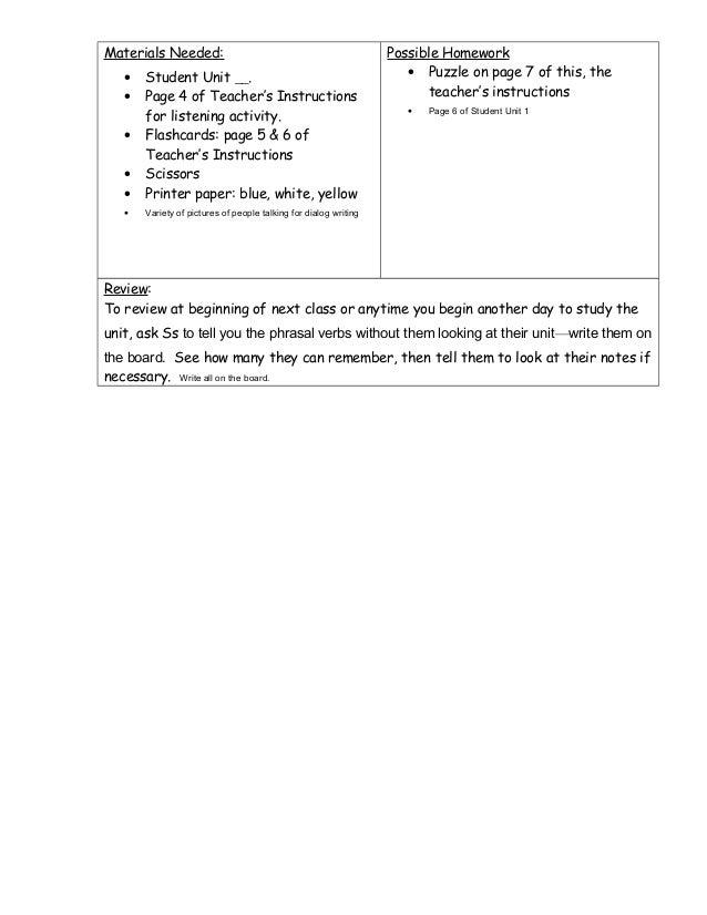 teachers instructions