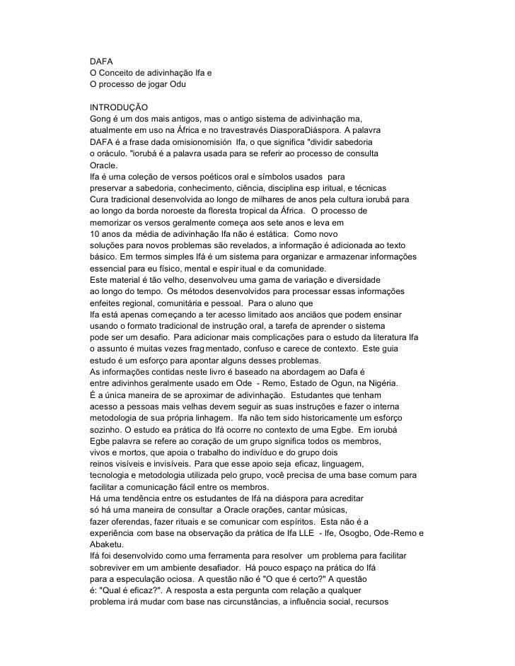 DAFAO Conceito de adivinhação Ifa eO processo de jogar OduINTRODUÇÃOGong é um dos mais antigos, mas o antigo sistema de ad...