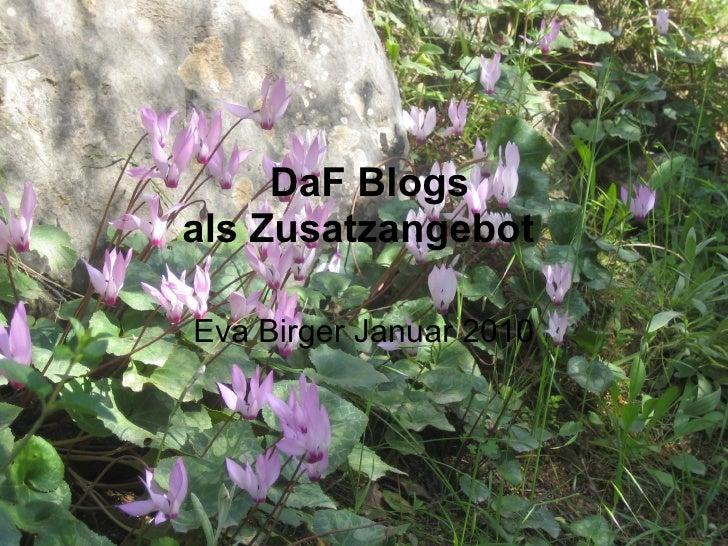 DaF Blogs als Zusatzangebot  Eva Birger Januar 2010