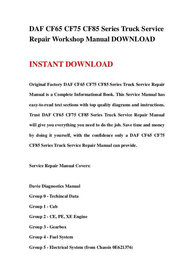 Daf service manual, repair manual, workshop manual, buses daf.