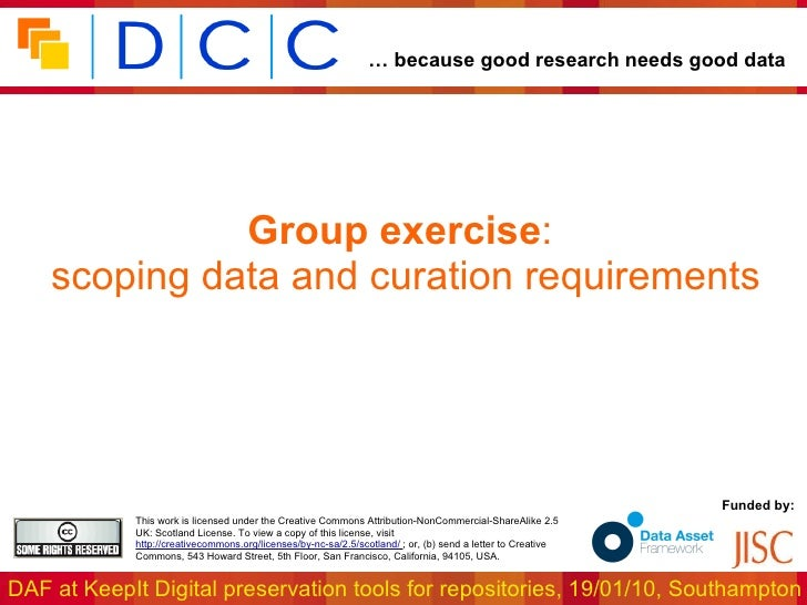 Group exercise :  scoping data and curation requirements