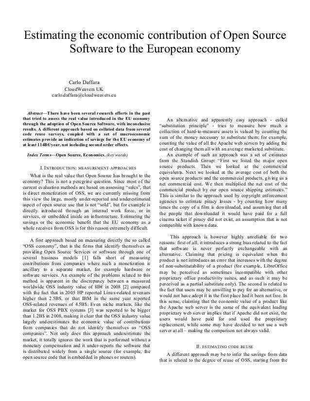 Estimating the economic contribution of Open Source Software to the European economy Carlo Daffara CloudWeavers UK carlo.d...