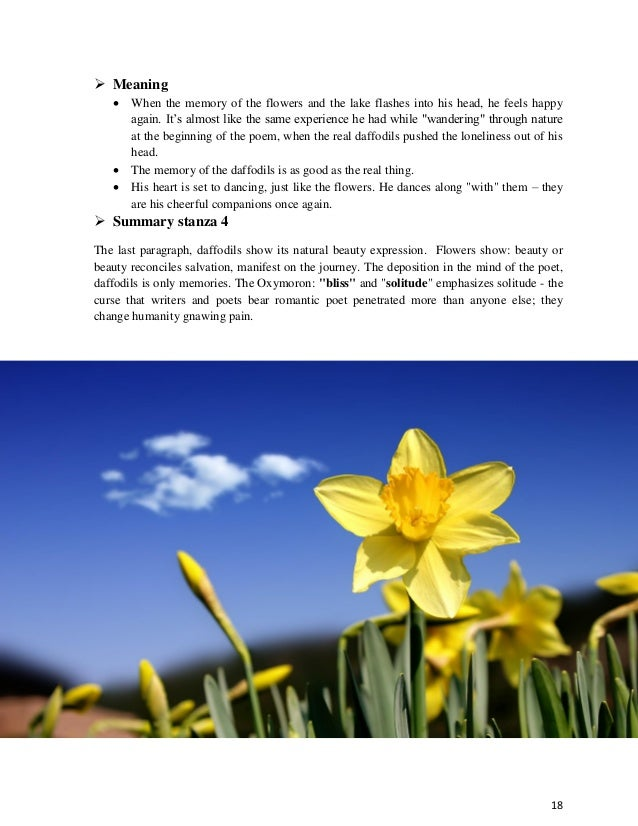 analysis of the poem daffodils by The william wordsworth poem 'i wandered lonely as a cloud,' also known simply as 'daffodils,' is the british poet's most famous and enduring work.