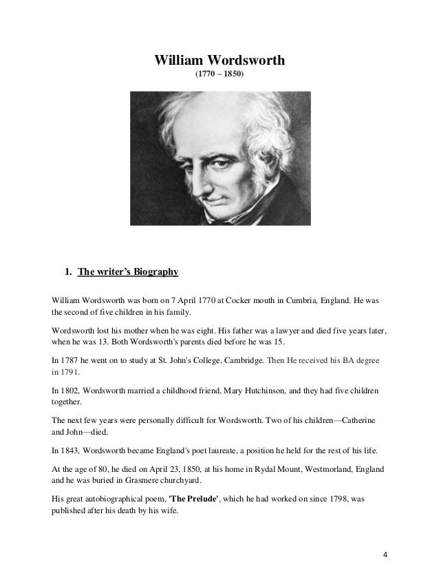an analysis of the poem of william wordsworth