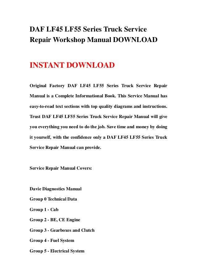 DAF LF45 LF55 Series Truck Service Repair Workshop Manual