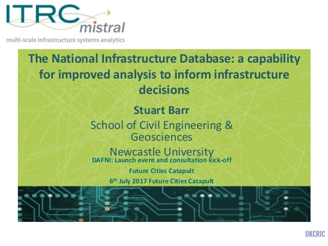 The National Infrastructure Database: a capability for improved analysis to inform infrastructure decisions Stuart Barr Sc...