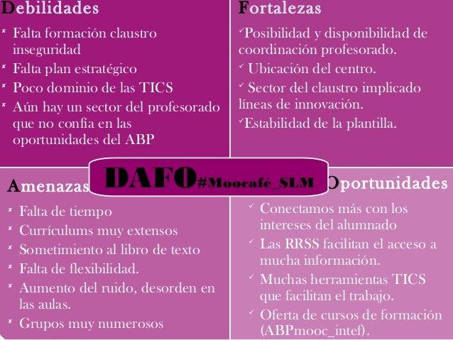Debilidades  Falta formación claustro inseguridad  Falta plan estratégico  Poco dominio de las TICS  Aún hay un sector...