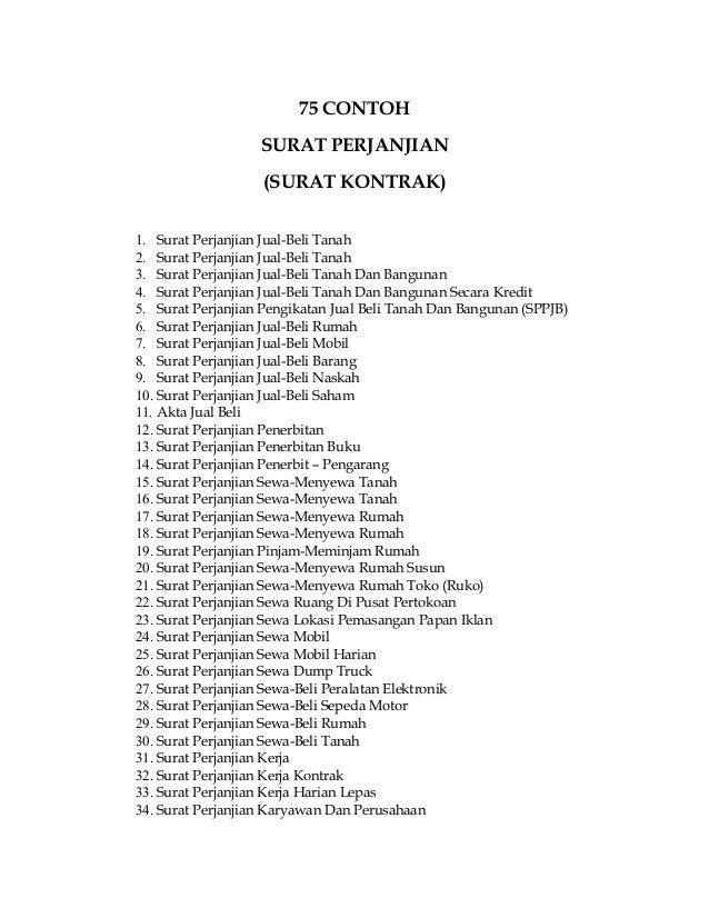 Daftar 75 Contoh Surat Perjanjian Surat Kontrak