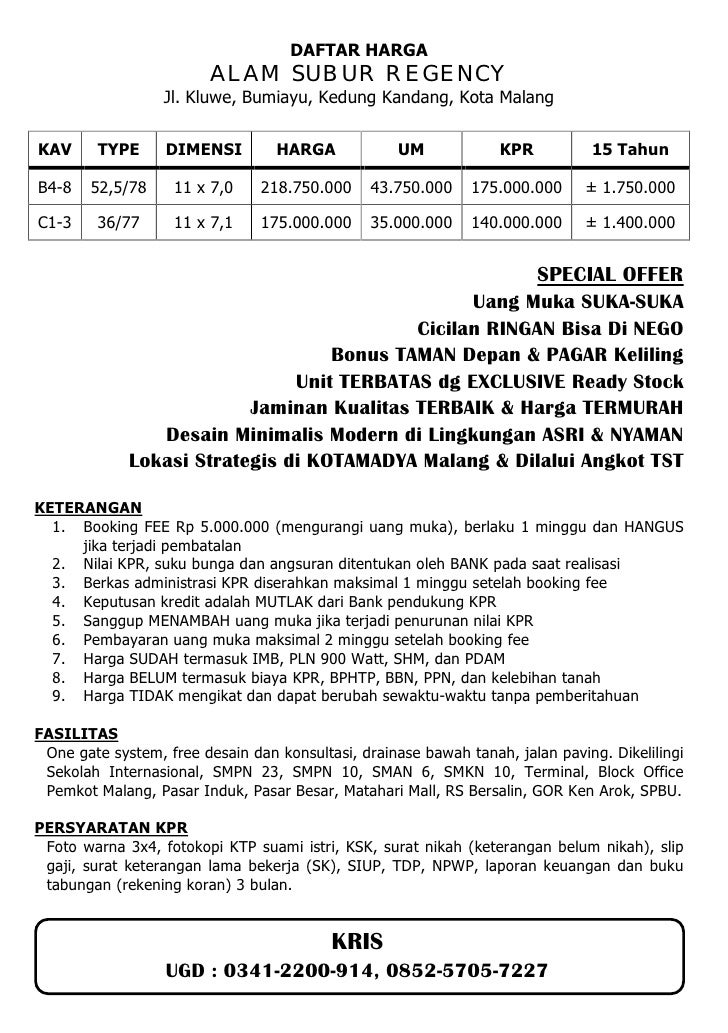 DAFTAR HARGA                         ALAM SUBUR REGENCY                  Jl. Kluwe, Bumiayu, Kedung Kandang, Kota MalangKA...