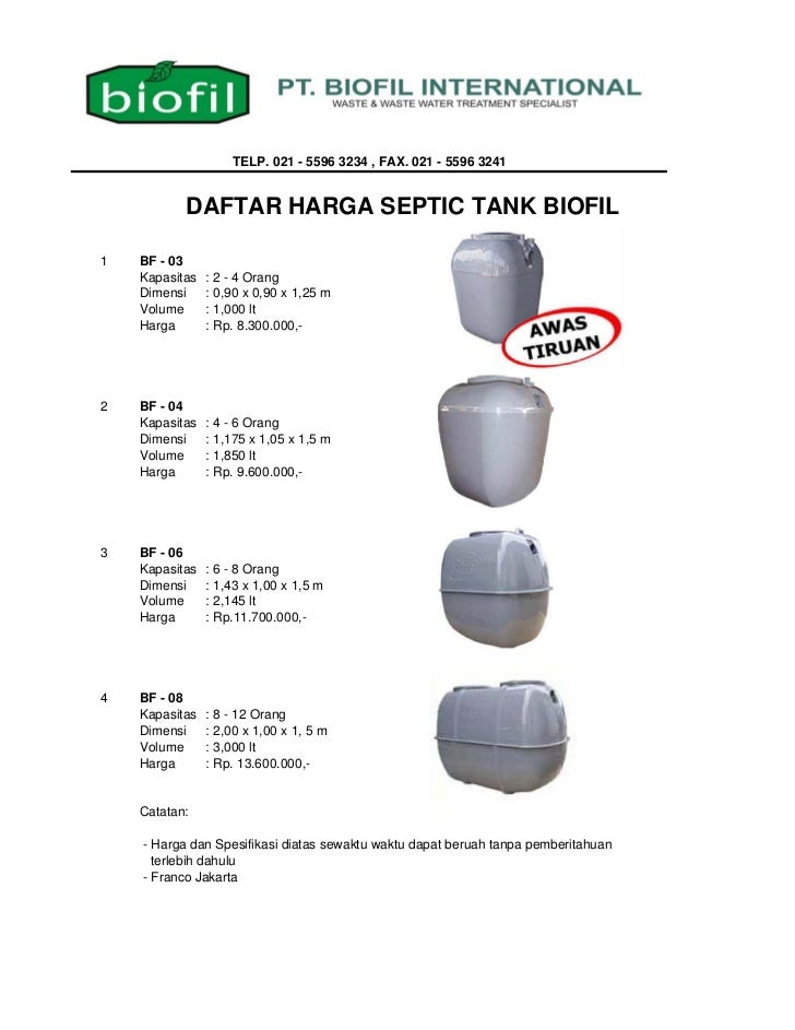 TELP. 021 - 5596 3234 , FAX. 021 - 5596 3241           DAFTAR HARGA SEPTIC TANK BIOFIL1   BF - 03    Kapasitas   : 2 - 4 O...