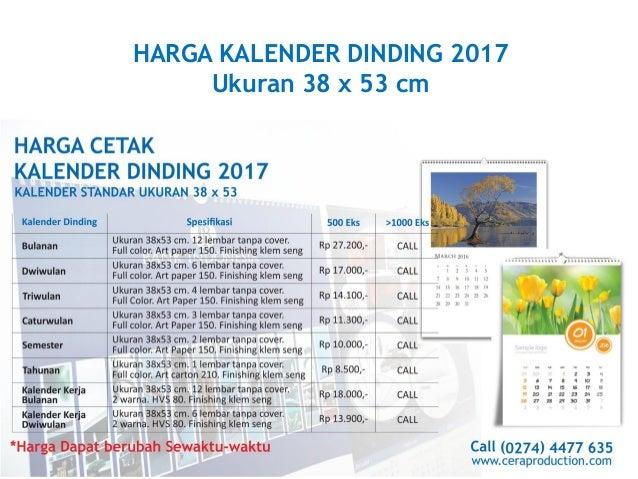 Harga cetak kalender 2017 terbaru