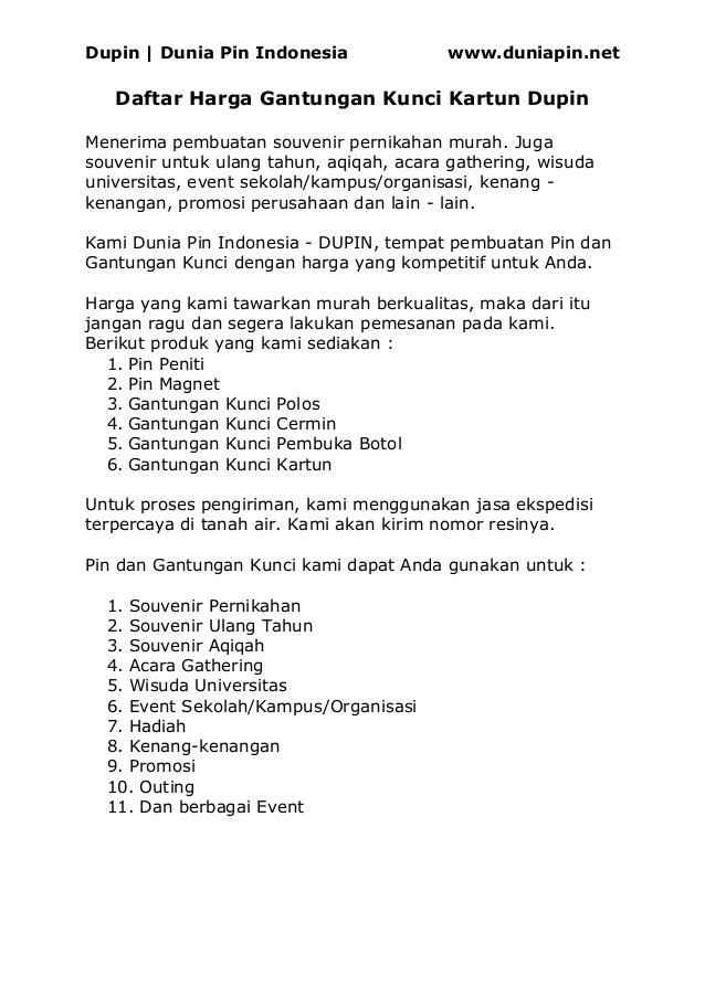 Dupin | Dunia Pin Indonesia www.duniapin.net Daftar Harga Gantungan Kunci Kartun Dupin Menerima pembuatan souvenir pernika...