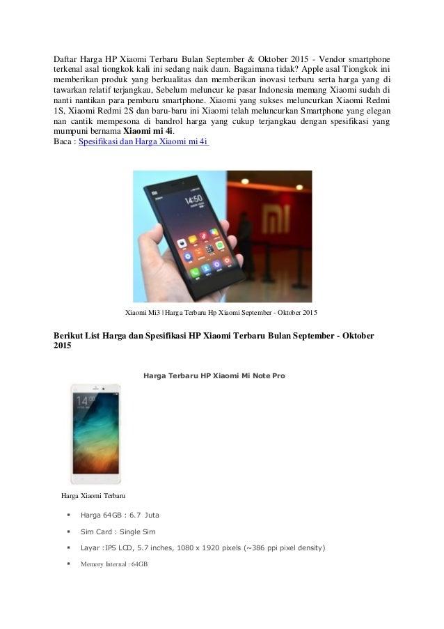 Daftar harga dan spesifikasi hp xiaomi bulan september for Documents app xiaomi