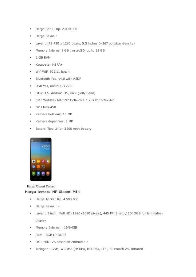 Daftar Harga Dan Spesifikasi HP Xiaomi Bulan September